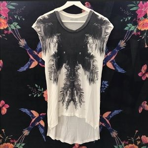 All Saints Graphic Tee Top High Low Printed Shirt